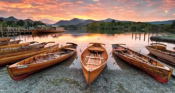 Boats on Derwentwater at Keswick at dusk