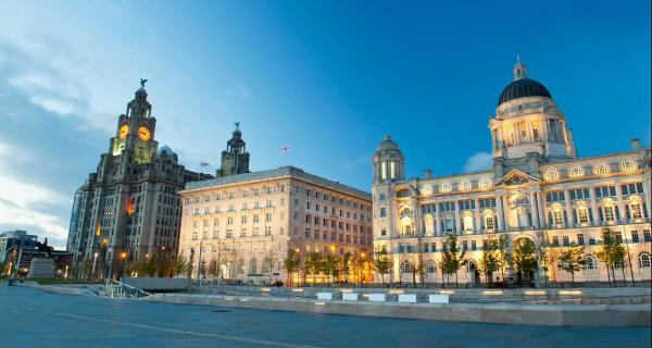 View of the Liver Building from the River Mersey in Liverpool