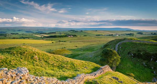 View of Sycamore Gap along Hadrians Wall, Northumberland