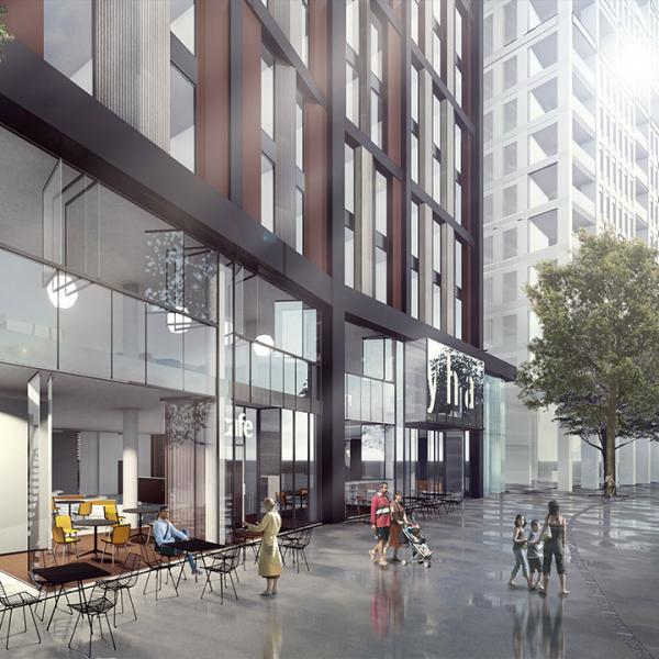 Street level artists impression of the front of YHA London Stratford