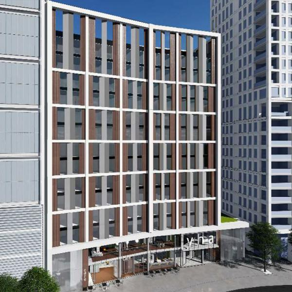 Aerial artist impression of the front of YHA London Stratford, close up