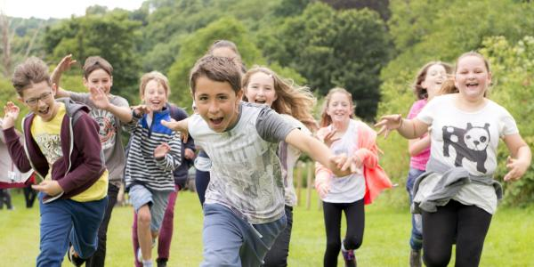 School children playing at YHA Edale