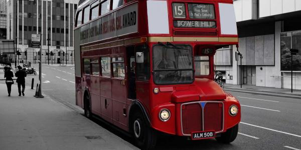 Iconic red London bus