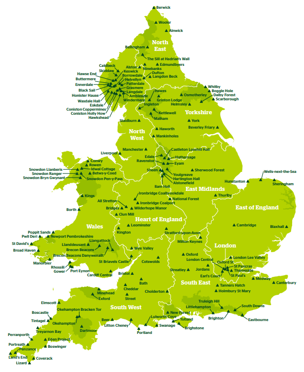 YHA Network Map