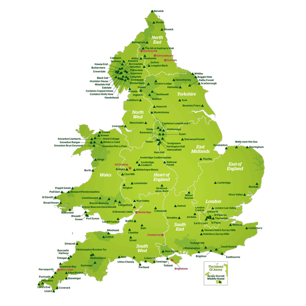 Download map of all YHA's accommodation
