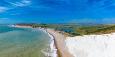 White cliffs over ocean in South Downs