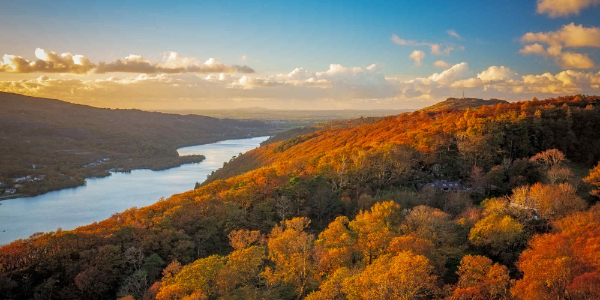 View of Llanberis, Wales, in autumn