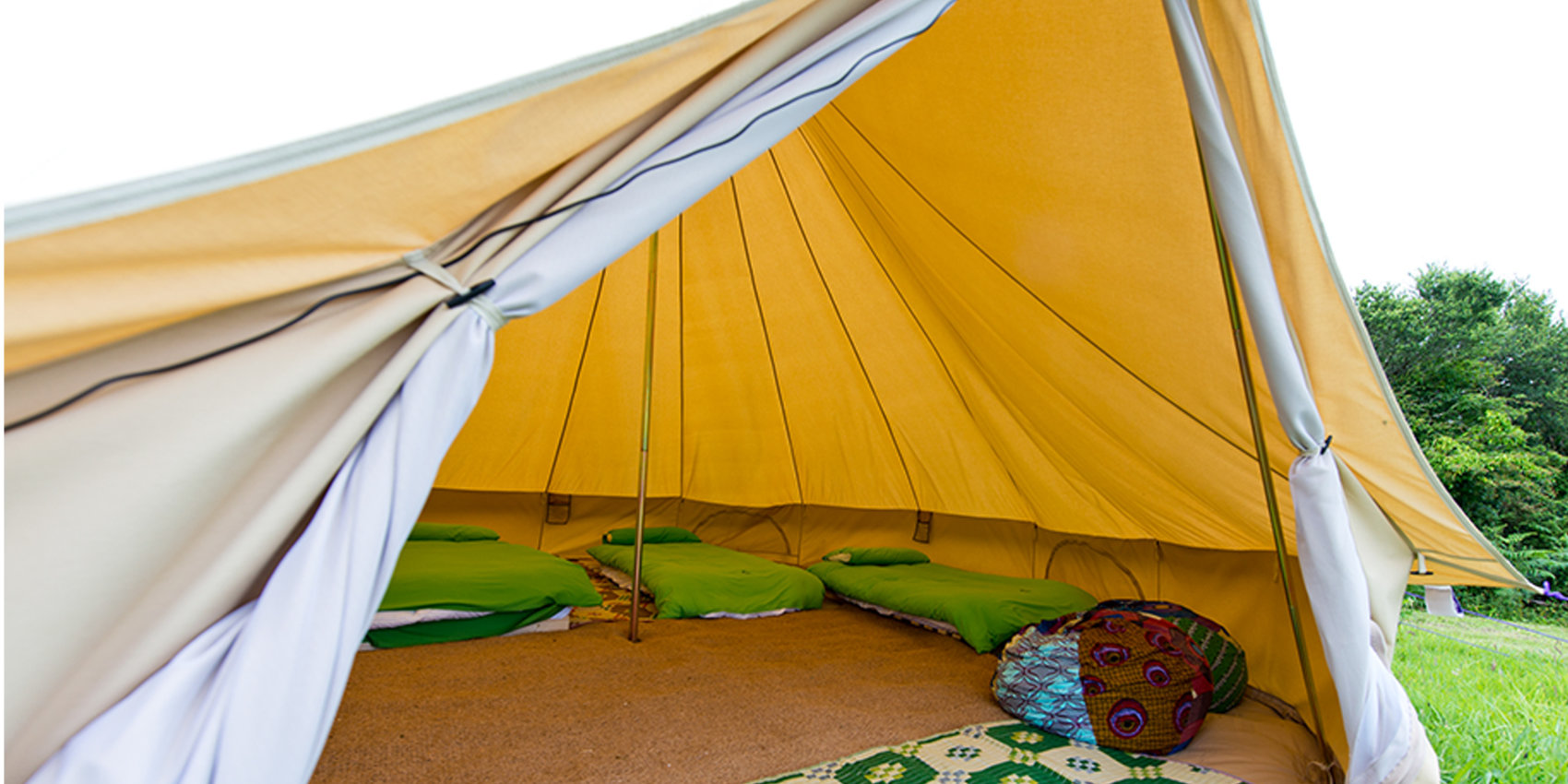 Inside a bell tent at YHA