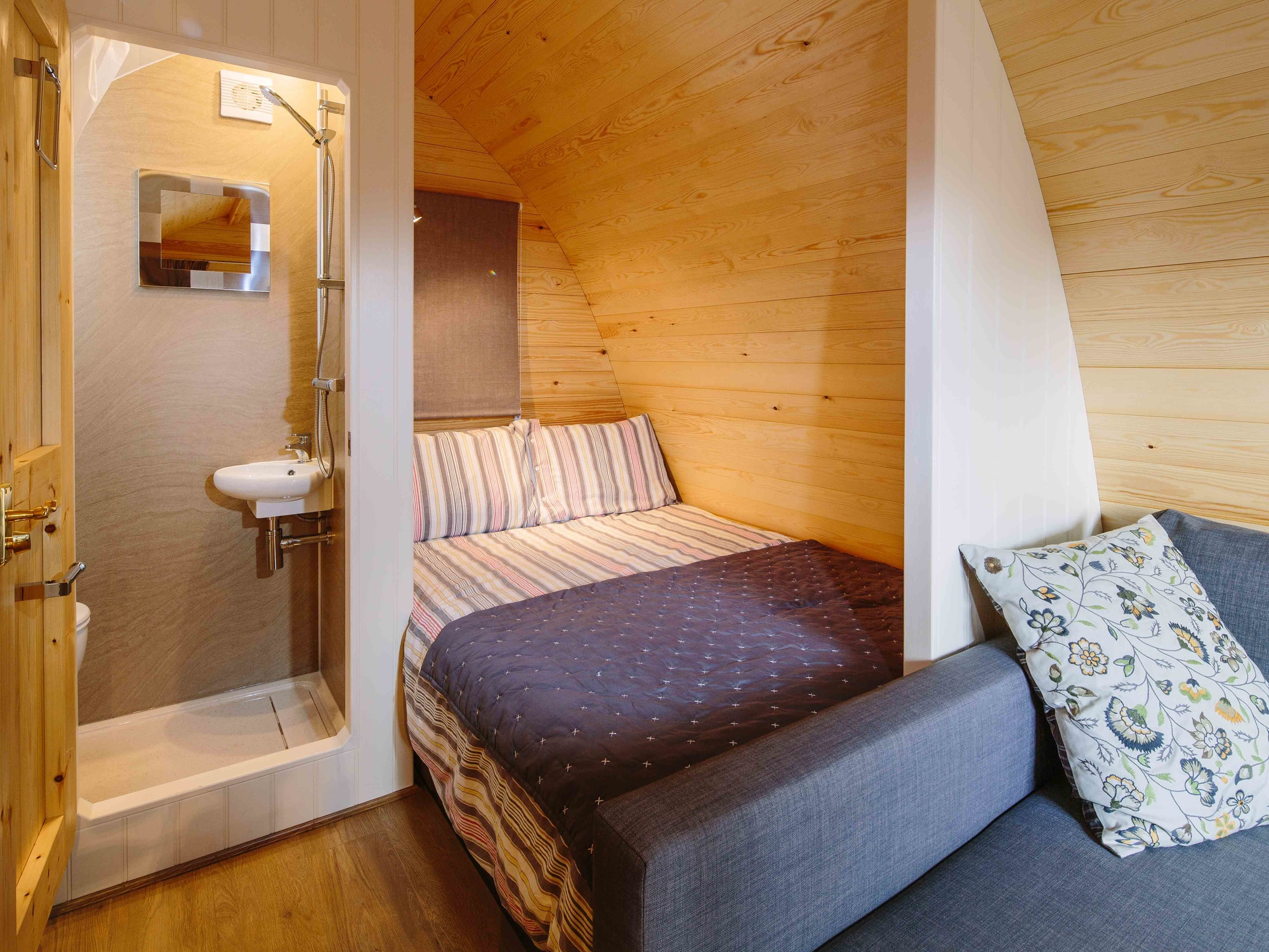 Inside of a deluxe camping pod at YHA