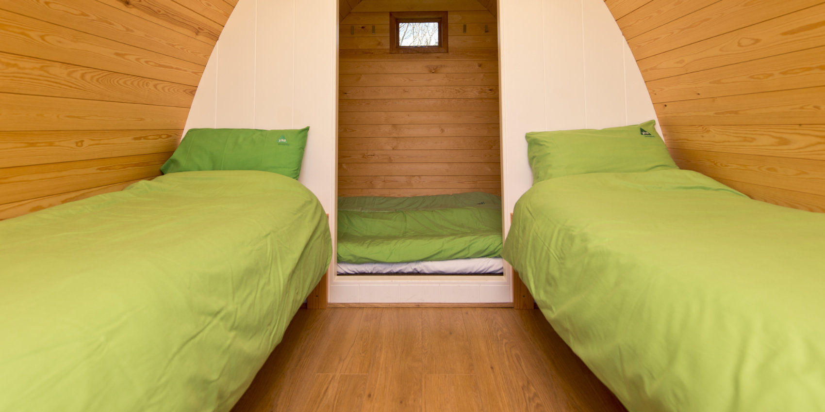 Inside a camping pod at YHA
