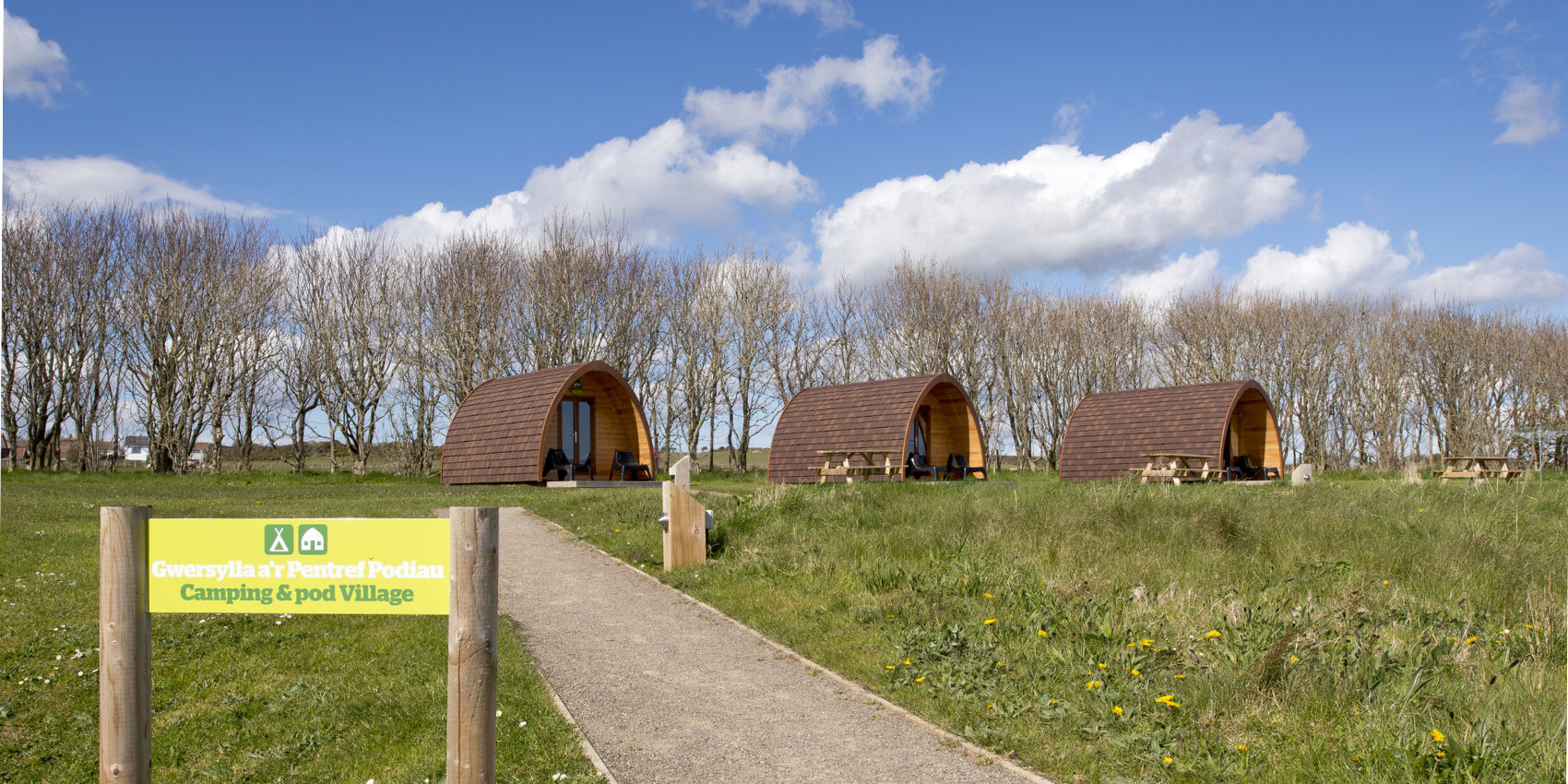 Row of camping pods at YHA