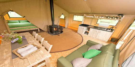 Interior of a safari tent