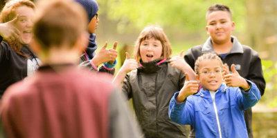 Children doing activities at YHA