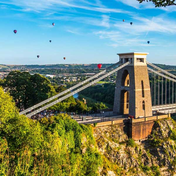 View overlooking the Clifton Suspension Bridge in Bristol, with hot air baloons
