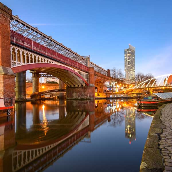 Castlefield Railway bridge from Potato Wharf, Manchester
