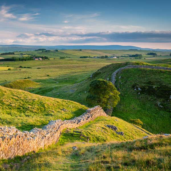 View along Hadrian's Wall in Northumberland