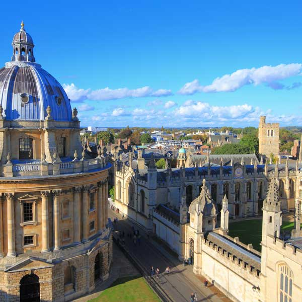 View above the University of Oxford