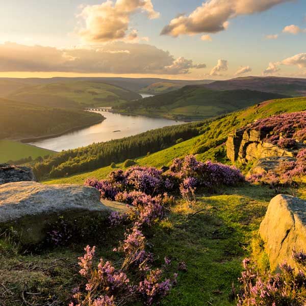 View over Ladybower Reservoir in the Peak District