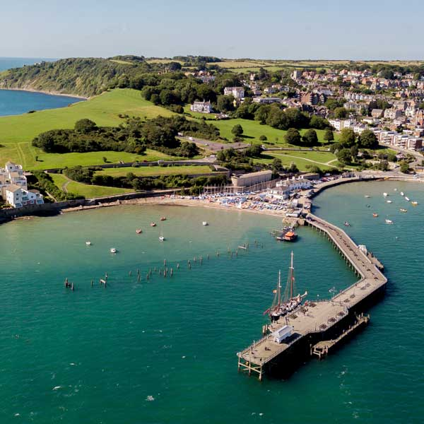 Aerial view of Swanage across the harbour