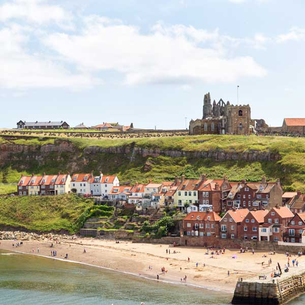 View of Whitby Abbey across the River Esk, from the whale bone arch