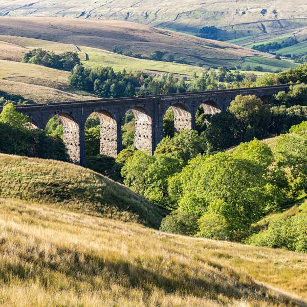 View of Dent Head Viaduct in the Yorkshire Dales