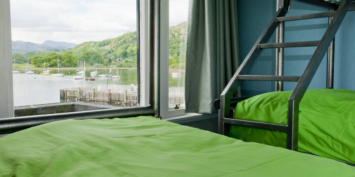 Private room at YHA Ambleside overlooking the lake